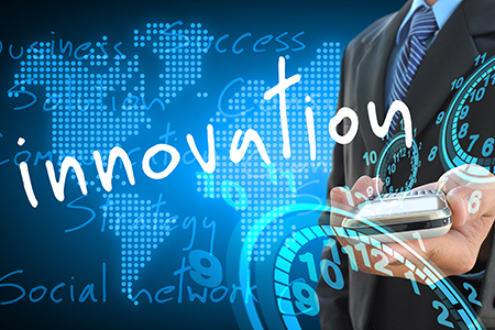 businessman hand holding innovation