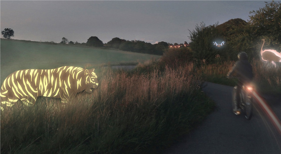 Interactive animals light up school path