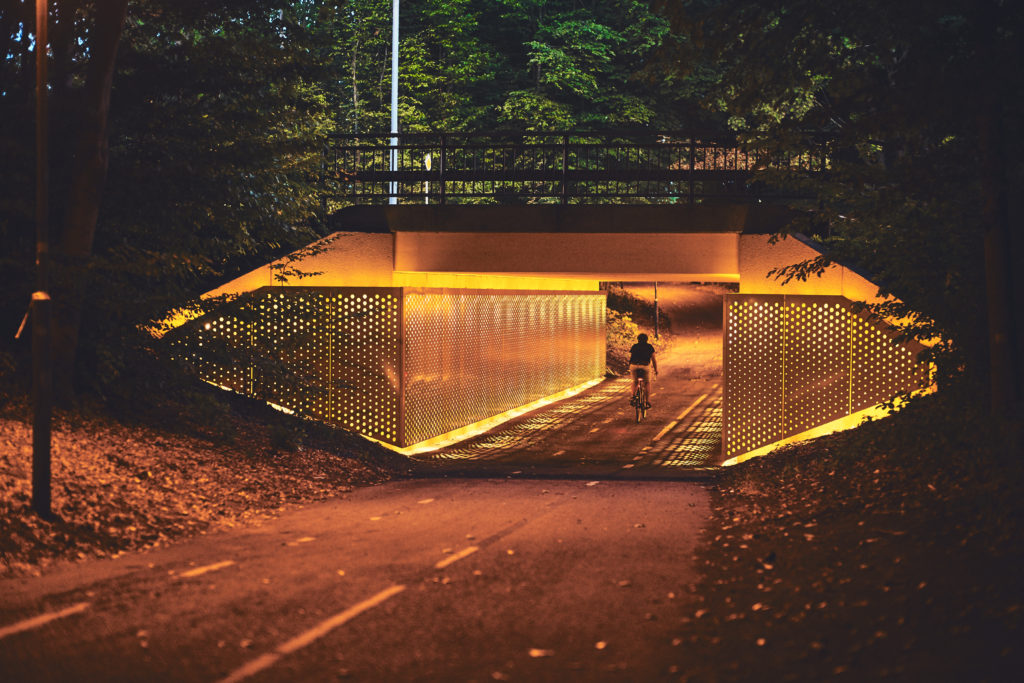 Light on the green path lighting metropolis